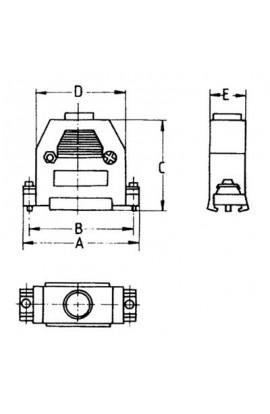 Carcasa para conectores DB37 plástica color Negro