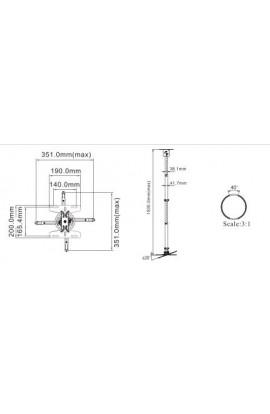 Soporte proyector a techo North Bayou Inclinable  95cm-155cm