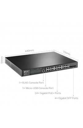 Switch TPLink 24 Ptos Gigabit + 4Slots SFP 1G PoE+