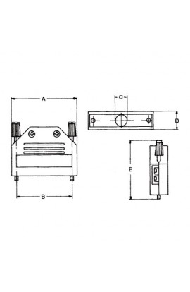 Carcasa para conectores DB15 2 filas plástica tornillo largo