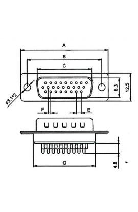 Conector D-SUB HD 26Pin(3 filas) Hembra para soldar