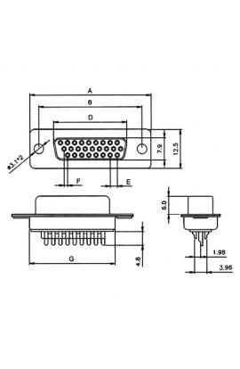 Conector D-SUB HD 26Pin(3 filas) Macho para soldar