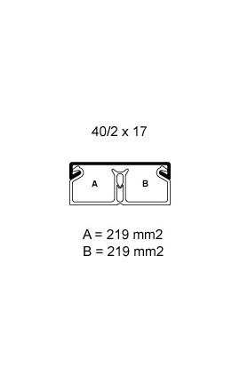 Canaleta 40x17mm c/separador tramo de 2mts color blanco