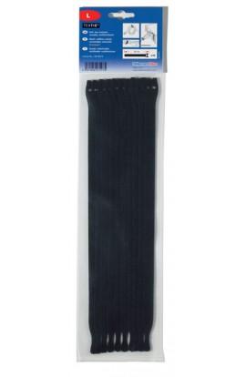 Velkro bridas sujeción de cables de 12,5x330mm 10und. Negras