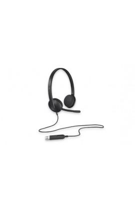 Auriculares con micrófono Logitech H340 USB color negro
