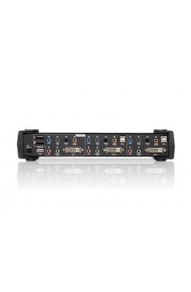 Conmutador KVM Aten 2PCs a 1Psto trabajo USB+DVI+audio