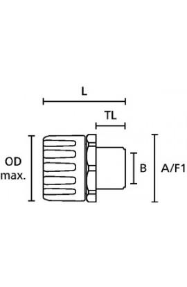 Racor HG-S Recto, IP66 Poliamida M25 unidad