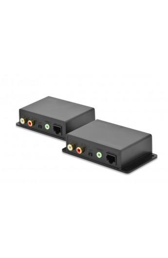 Amplificador Audio por RJ45 Tx+Rx 2xRCA o minijack 3,5 600mt