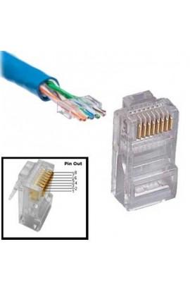 Conector RJ45 macho Cat.6 UTP Cable c/Guías 100 Unid