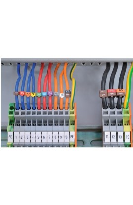 Identificadores Alfab cables de 4-6mm Kit de 10 col amarillo