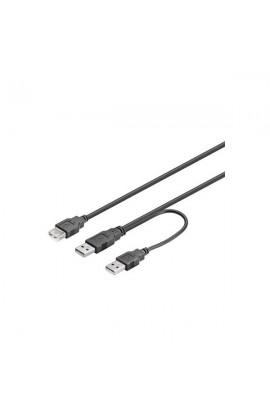 Cable USB3.0 doble(dat.+aliment.) 2xUSB A M/1xUSB A H 0,30